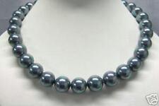 Neu Echte Collier Muschelkernperlen Perlen grau Kette 14mm Perlenkette Damen