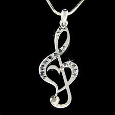 w Swarovski Crystal ~Black TREBLE CLEF MUSIC MUSICAL NOTE Heart Pendant Necklace