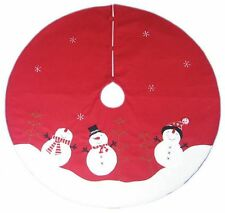 "SNOWMAN Chrimstmas Tree Skirt Red~White 48"" St. Nicholas Square Button Close NEW"