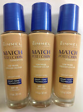 3 X Rimmel London, Match Perfection Foundation, Smart-Tone  #220 Soft Ivory NEW.