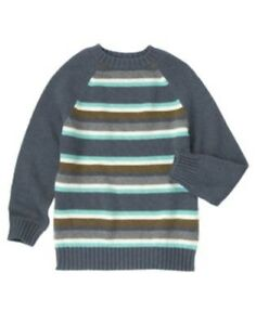GYMBOREE ANIMAL PARTY GRAY STRIPED L/S SWEATER 4 5 6 7 8 10 12 NWT