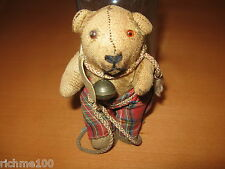 Antique Stuffed Plush Mohair Teddy Bear Doll Toy Glass Eyes Small Miniature 4.5""