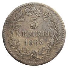 GERMANY - GERMAN STATES BADEN 3 KREUZER SILVER 1868