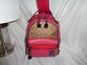 Coach 69522 Campus Backpack 23 Signature C Patch Retro Logo Bright Cherry Tan