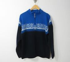 Dale of Norway Wool blue white green men's 1/2 zip sweater pullover Large L