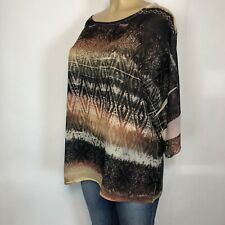 Reba Multicolor Short Kimono Sleeve Shirt Womens Size L Casual Beaded Sheer Top