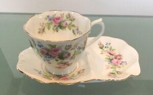 Royal Albert Moss Rose Tea Cup & Saucer Tennis Snack Set  Bone China Vintage