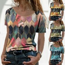Summer Women Crew Neck Casual T Shirt Floral Top Short Sleeve Loose Blouse Tunic