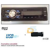 AUTORADIO FM STEREO FRONTALINO ESTRAIBILE USB SD AUX RADIO + PEN DRIVE 16GB