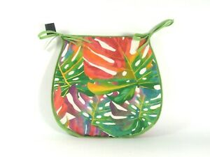 Tropical Leaves D-Shaped Garden/Patio/Kitchen/Dining Tie-On seat pads *3 Sizes*