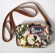 SAKROOTS Artist Design Peace Shoulder Purse Handbag Bird Flower Coated Canvas VG