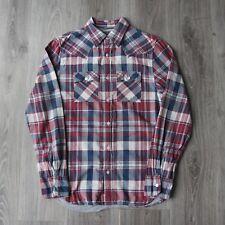 Vintage Para Hombre Ralph Lauren Polo Jeans Company compruebe Camisa M Franela Denim Rojo