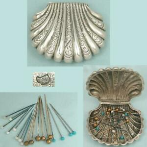 Antique French Silver Scallop Shell Pin Box w/ Neat Pins * Circa 1900