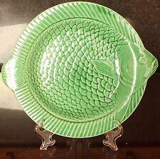 VINTAGE SARREGUEMINES verde maiolica piatto di pesce, anni 1930