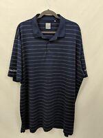 Callaway Mens Opti Dri Navy Blue w/stripes Polo Golf Shirt Short Sleeve Size XXL
