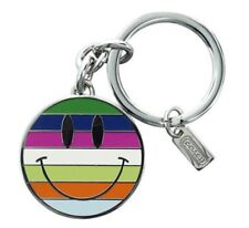 100% Authentic COACH Legacy Stripe Smiley/ Happy Face Key Fob Keychain #92528