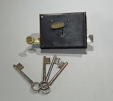 Vintage french iron door lock with gold copper handle and 4 keys