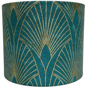 Art Deco Lampshade Ceiling Light Shade Green Gold Style Design Vintage Retro