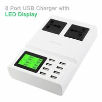 USB Fast Charger 8 Ports Quick Charging Station With 2 AC Outlets Socket XA