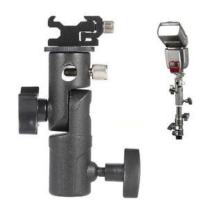 180° E Type Metal Flash Hot Shoe Speedlite Umbrella Holder Light Stand F Camera