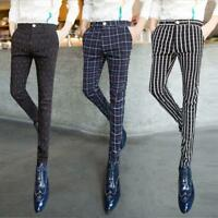 Hot Stylish slim men's pants checks striped pencil trousers hairstylist casual S