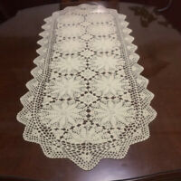 "Vintage Lace Table Runner Dresser Scarf Hand Crochet Cotton Doilies Mat 19""x39"""