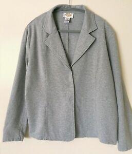 Talbots Women's Plus Size 1X Gray Cotton Jersey Knit Cardigan Blazer Jacket