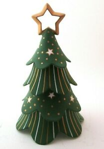 Partylite Ceramic Christmas Tree stackable candle holder design retired green