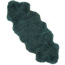 Super Soft Large British Genuine Real Sheepskin Rug Turquoise Teal 180cm x 70cm