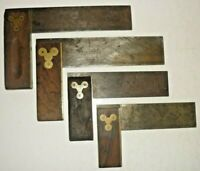 """4 Vtg Stanley Rule & Level Co. Brass Metal Square Wood Working Tools 6"""" & 4 1/2"""""""