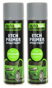Autotek Acid Etch Primer Professional Aerosol 500ml x2 For Galvanised Aluminium