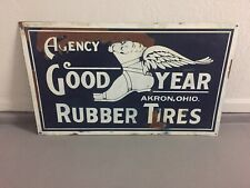 Large Goodyear Tires Metal Sign 24x40 Inches Gas Station Oil Automotive Vtg Ohio