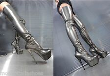 MORI PLATFORM OVERKNEE HEELS ITALY BOOTS BOOTS STRETCH LEATHER GREY GREY 39