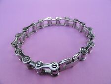 """SIGNED MILOR ITALY STAINLESS STEEL MOTORCYCLE CHAIN BRACELET 8"""" LONG"""