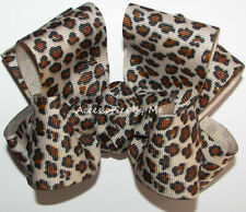 Leopard Hair Bow Ivory Black Brown Cheetah Safari Animal Prints Alligator Clip