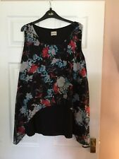 PRETTY EMILY AT EVANS BLACK MULTI FLORAL SLEEVELESS TUNIC TOP 16 NEW WITHOUT TAG