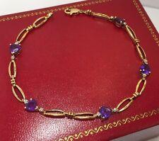"10k Yellow Gold 2.5 Ct Amethyst Diamond Heart Multi Gemstone Tennis Bracelet 7"""