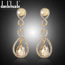 GOLD PLATED CHAMPAGNE CRYSTAL & WHITE SAPPHIRE CRYSTAL STUD EARRINGS..LAST PAIR