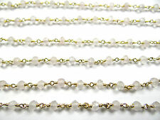 Gold Plated Gem Stone Link Chain 33 3.5 Mm Natural Rose Quartz Facet Hand Made