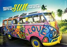 A6 Postkarte Grußkarte Karte VW Bus Bully Flower Power Love Let the sun shine in
