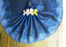 Dusty Blue Glitter Embroidered Lace Trim. Dolls Dresses Evening Wear 22.5 cm W