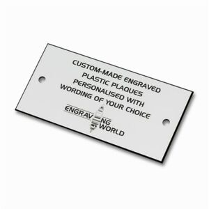 76mm x 26mm Personalised Engraving Engraved Plastic Plaque Sign (White/Black)