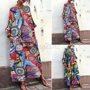 Womens Summer Bohemia Floral Printed Beach Sundress Kaftan Baggy Long Maxi Dress