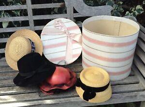 4 Vintage Ladies' Hats Large Hatbox Myer Adelaide Marida London Black Felt Straw