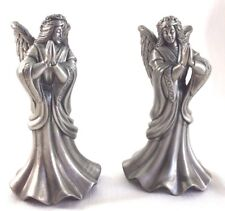 "2 Angel Candle Holders Metal Praying Hands 6 3/4"" high Christmas"