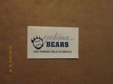Yakima Bears Vintage Defunct Circa 1990 Team Logo Baseball Pocket Schedule