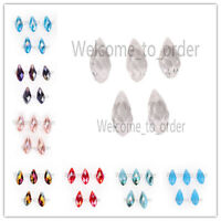20 pcs Charms Faceted Glass Teardrop Pendant Earring Finding Loose Spacer Beads