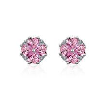Fashion Women Solid 925 Sterling Silver Pink Zircon Heart Clover Stud Earrings