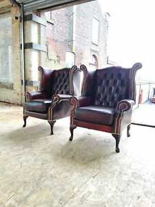 Brand New Chesterfield Pair Of Queen Anne Real Leather Wing Armchair Oxblood Red