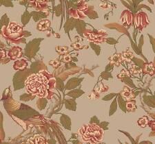 Wallpaper Designer Traditional Floral Pheasants Birds Green Rose Tan on Taupe